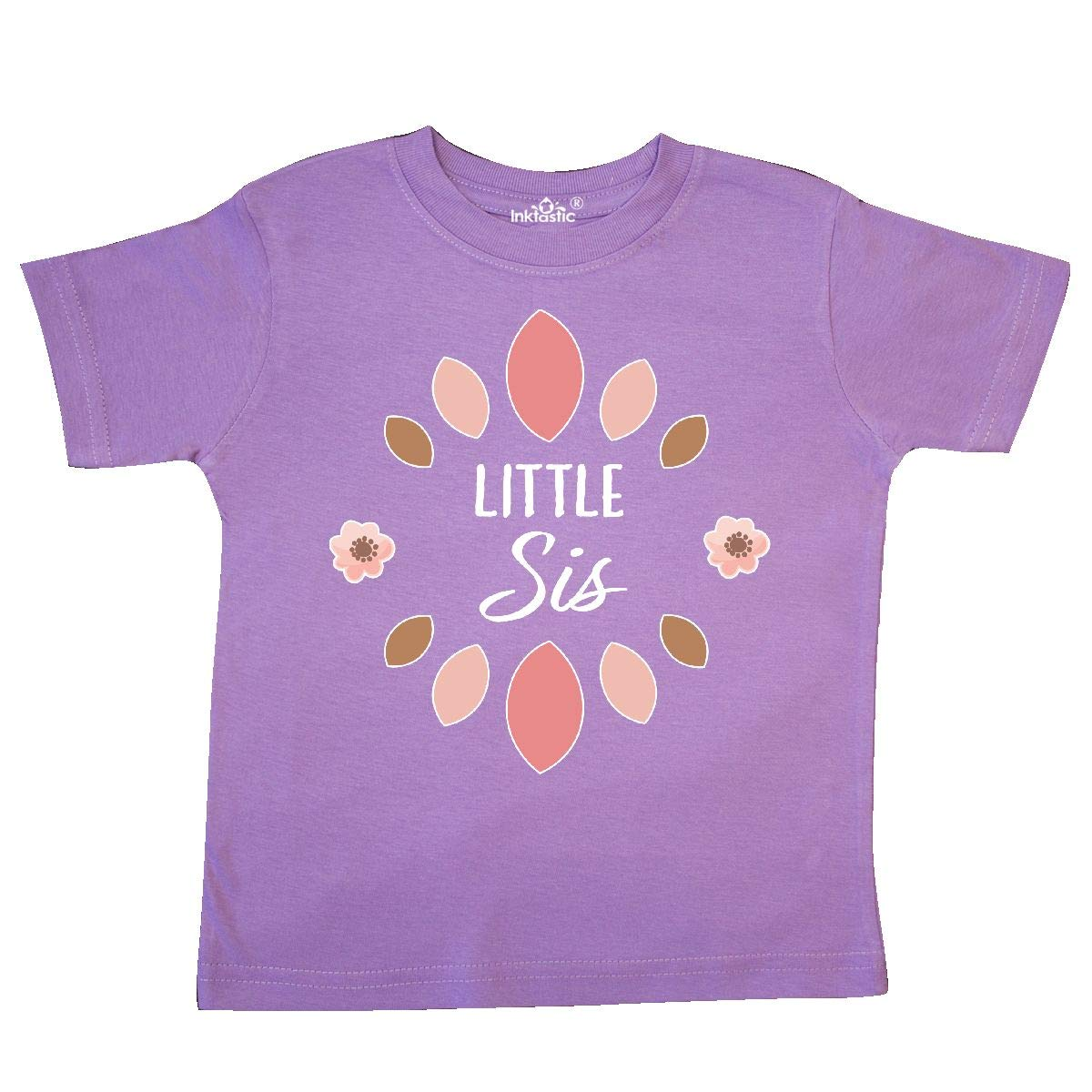 inktastic Little Sis with Pink Flowers Toddler T-Shirt