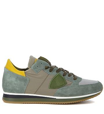 f44329678c4dd Philippe Model Men s Sneaker Tropez in Camoscio Verde E Tessuto Grigio  46(EU)-