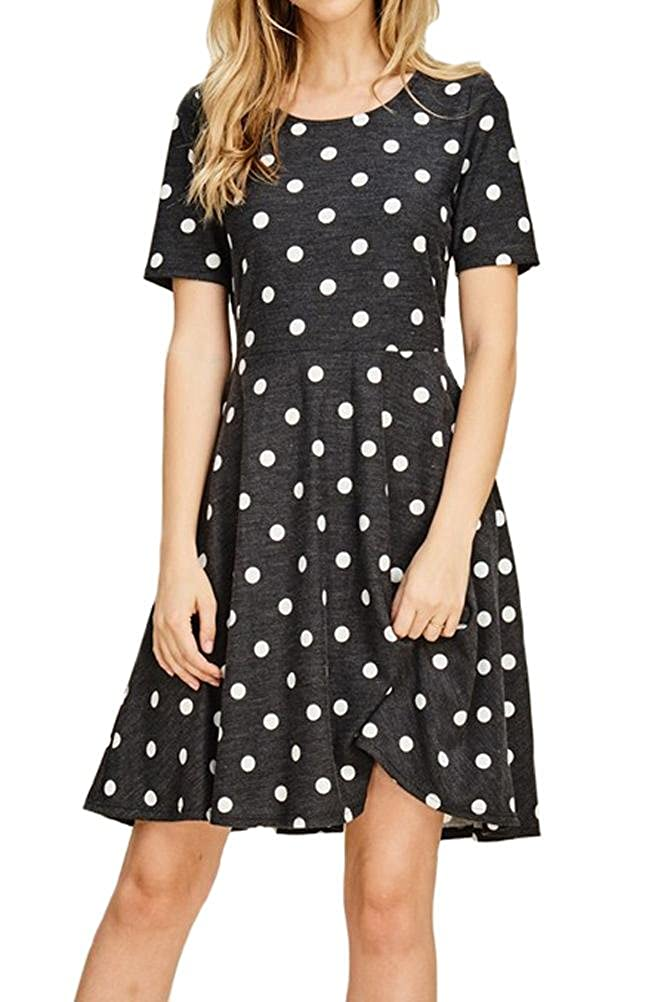 82e7e9520c0d iconic luxe Women s Polka Dot Fit and Flare Dress with Pocket at ...
