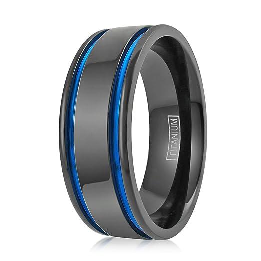 Ultra Modern Flat 8mm Gunmetal Black Titanium Wedding Band W 2 Blue Stripes