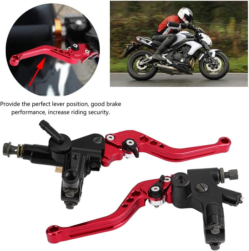 Motorcycle Brake Clutch Pump Adjustable 1 Pair Lever Hydraulic Master Cylinder Accessories Universal for 7//8in 22mm Handlebar Red