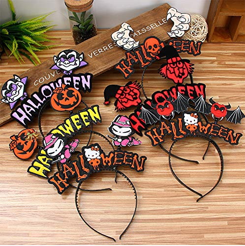 AIMIUL 6 Pack Halloween Headband with Boppers for Kids Pumpkin Bat Witch Kitty Vampire Skull Headpiece Costumes Accessories for Kids Girls Boys for Halloween Parties Halloween Dress by AIMIUL