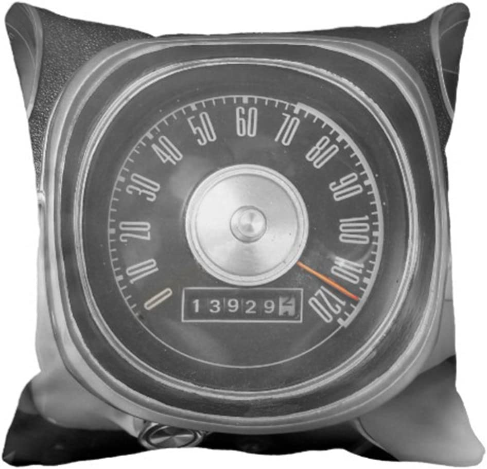 Emvency Throw Pillow Cover Vintage 1967 Muscle Car Speedometer Black Mph Decorative Pillow Case Home Decor Square 20 x 20 Inch Pillowcase