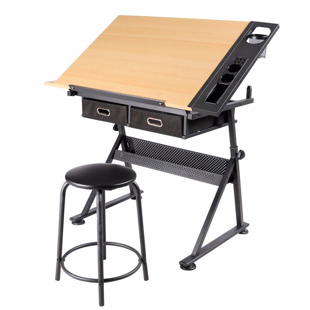Yaheetech Height Adjustable Drawing Table Desk Drafting Table Desk with P2 Tiltable Tabletop, Stool and 2 Storage Drawers for Reading, Writing,Studying Art Craft Work Station