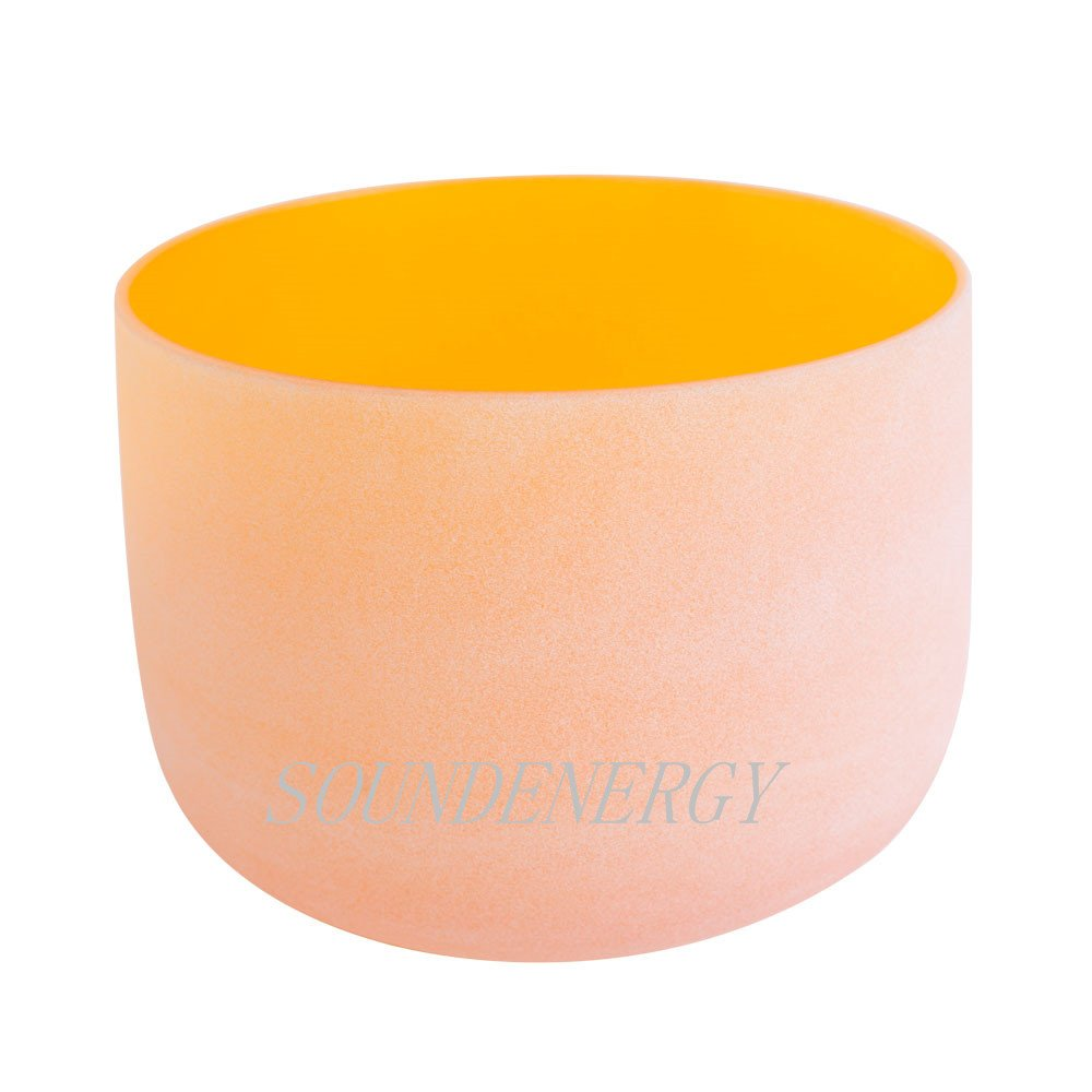 Frosted D Note Sacral Chakra Orange Colored Quartz Crystal Singing Bowl 10 inch mallet and o-ring included