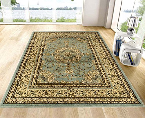 Ottomanson Royal Collection New Traditional Oriental Medallion Design Area Rug Sage, 7'10