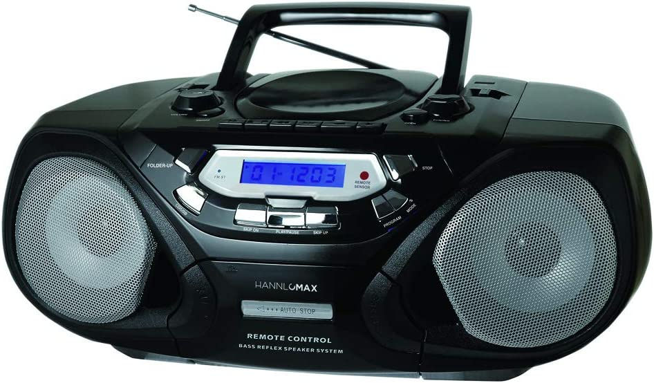 HANNLOMAX HX-313CD Portable CD/MP3 Player, Cassette Recorder, AM/FM Radio, USB Port for MP3 Playback, Remote Control, Aux-in, LCD Display, AC/DC Power Source, High Power Output