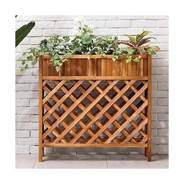 HEMFV Solido Fiore Legno Posizione Balcone Fence Wood Floor Minimalista Moderno Flower Pot Stand al Coperto Soggiorno 3 spesavip