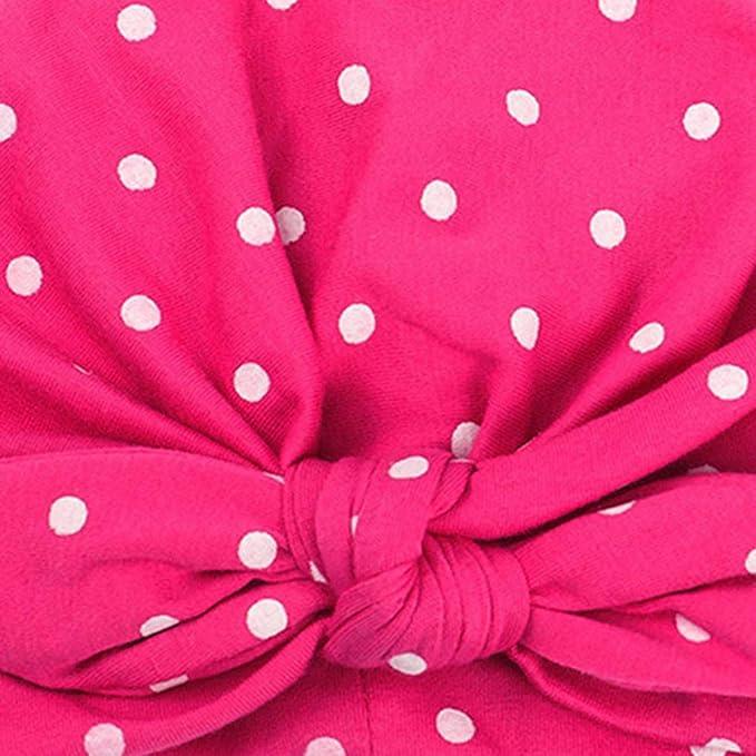 2cm Demino Neonata Puntino Sveglio Modello Hat Fascia Elastica Headwraps Orecchie da Coniglio Supporto dei Capelli della Fascia annodata Wrap Rosa 19.5