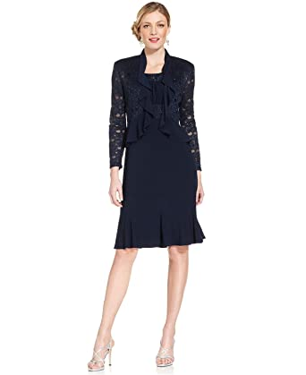 a33d7be6b6a R M Richards Women s Two PCE Missy Ruffle Jacket Over A Solid Dress at  Amazon Women s Clothing store