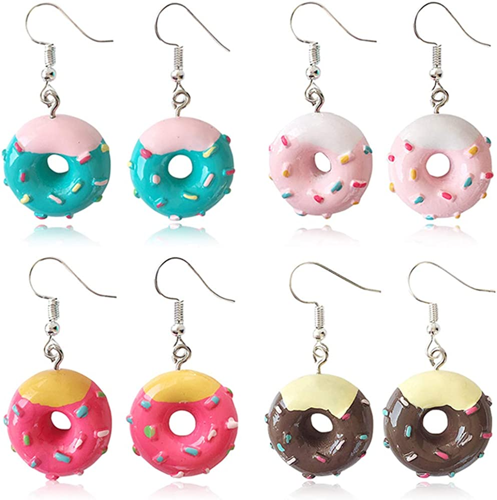 DAMLENG 4 Pairs Unique Fashion Chic Donut Dangle Earrings Charm Imitate Resin Food Drop Earrings Set For Women Girls Statement Jewellery Gifts