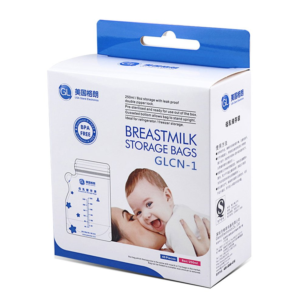 Gland Breastmilk Storage Bags BPA Free Leakproof, 8oz/250ml, 40/96 count(40 pcs breastmilk storage bags) Ltd