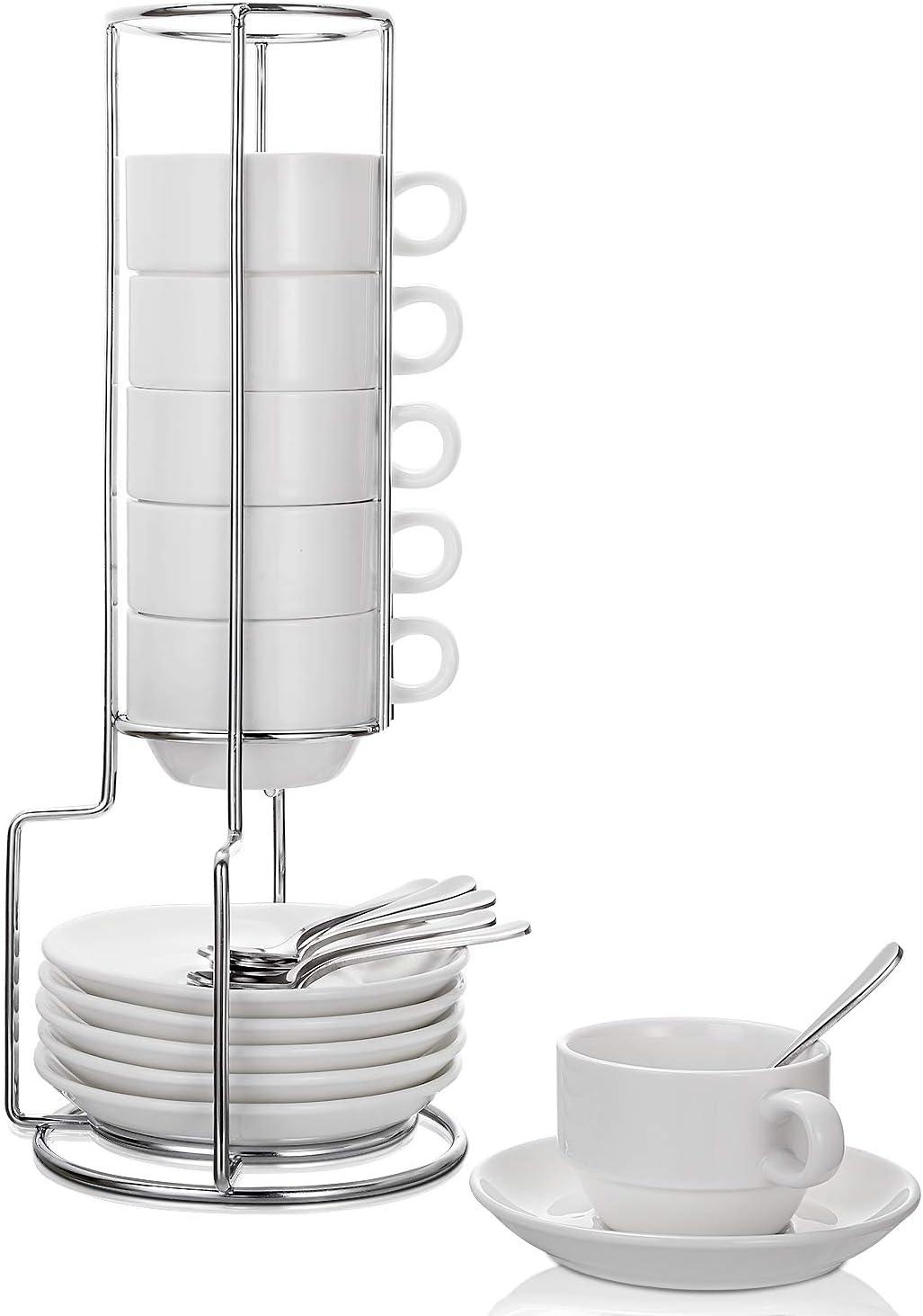 Aozita Espresso Cups and Saucers with Espresso Spoons, Stand Rack, 19-piece Porcelain Stackable Espresso Mugs, 2.5-Ounce Demitasse Cups for Espresso, Latte, Cafe Mocha