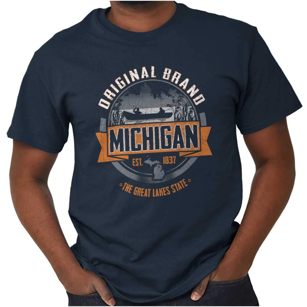 Original Brand Michigan Lake Fishing Gift T Shirt Tee