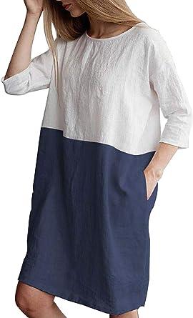 MAGIMODAC Vestido de verano de algodón y lino de manga 1/2 suelta, vestido de túnica de talla grande con bolsillos, talla 8 10 12 14 16 18 20 22: Amazon.es: Ropa y accesorios