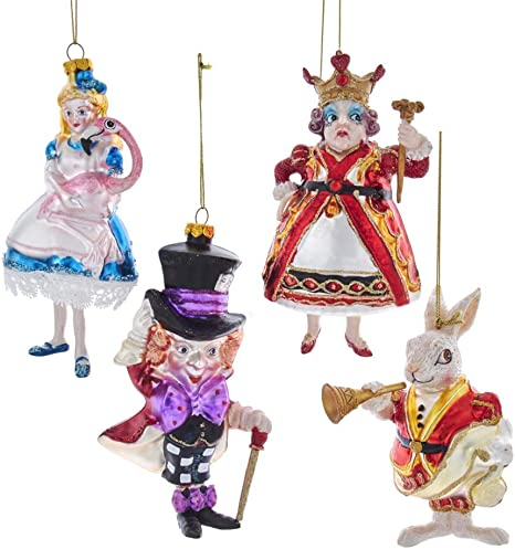 Amazon Com Kurt S Adler Kurt Adler 5 5 5 Inch Noble Gems Alice In Wonderland 4 Piece Ornament Set Multi Home Kitchen