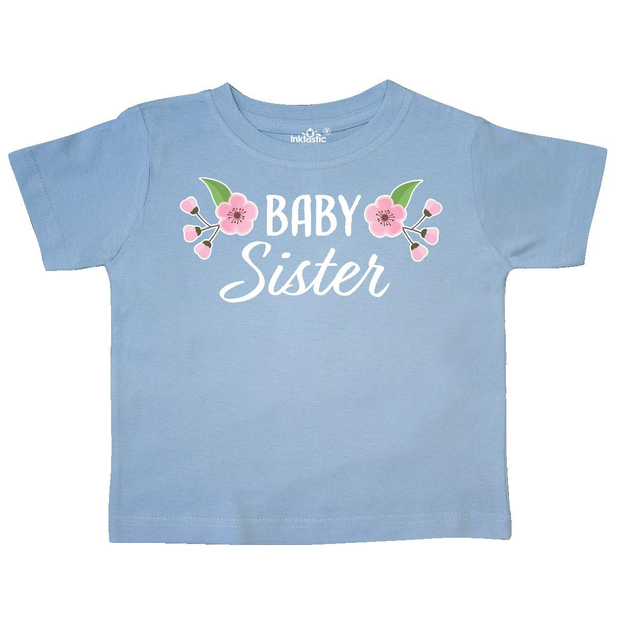 inktastic Baby Sister with Cherry Blossom Flowers Toddler T-Shirt