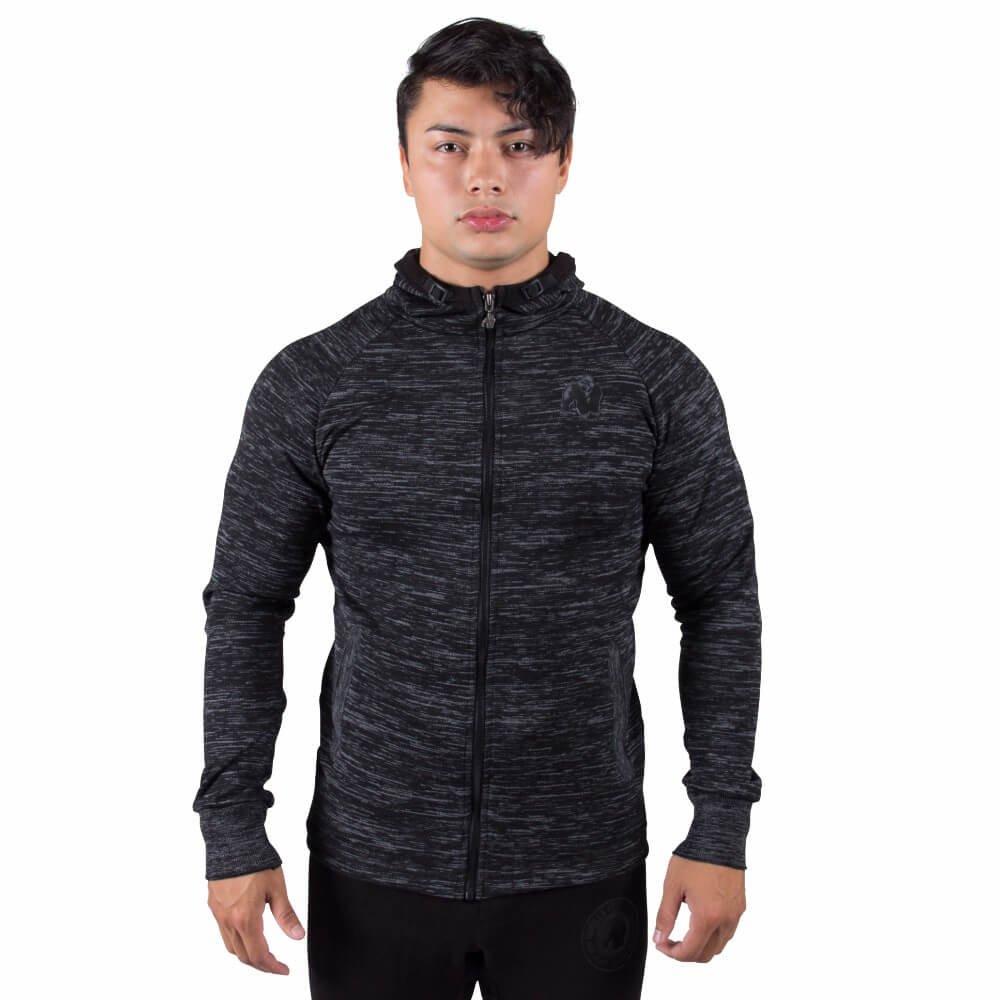 Gorilla Wear Keno Zipped Hoodie - schwarz/grau - Bodybuilding und Fitness Hoodie für Herren