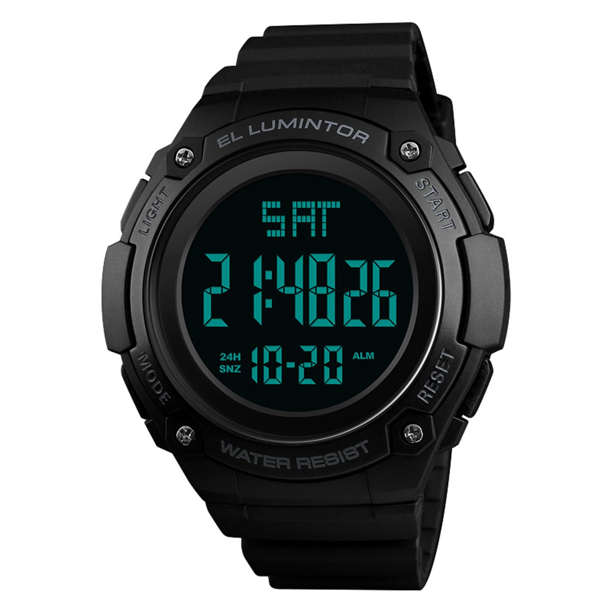 Digital Watch Mens Waterproof Outdoor Sports LED Watches Chronograph Fashion PU Band Men Wristwatch - Black by Dayllon