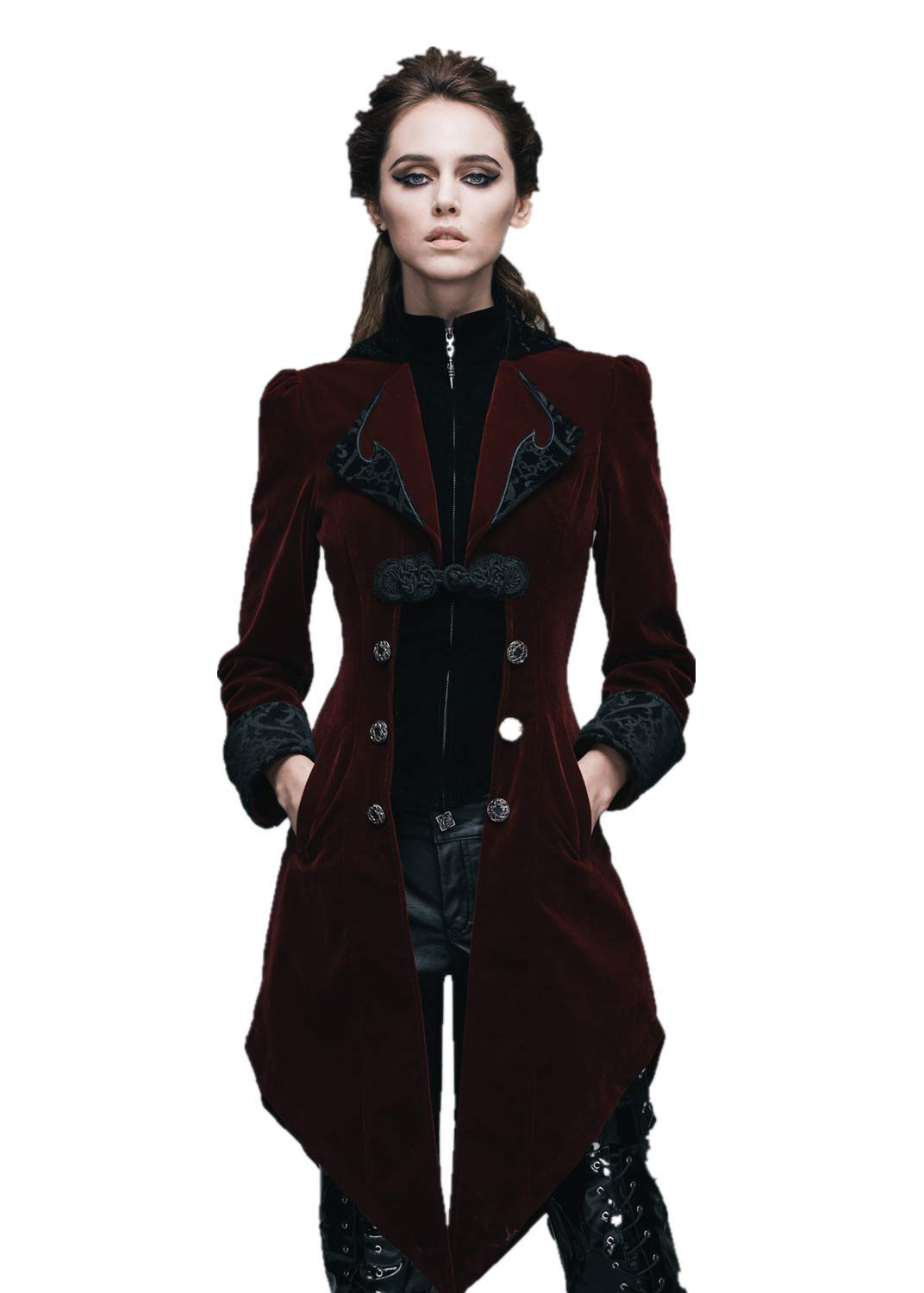 Steampunk Swallow Tail Coat Gothic Women's Long Winter Jacket Halloween Costumes