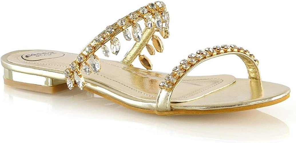 ESSEX GLAM Womens Strappy Slider Shoes Ladies Flip Flop Sparkly Diamante Toe Post Sandals