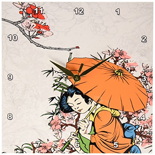 3dRose dpp_119153_1 Lovely Japanese Geisha with Umbrella and Sakura Cherry Blossom Flowers Asian Oriental Illustration Wall Clock, 10 by 10-Inch Review