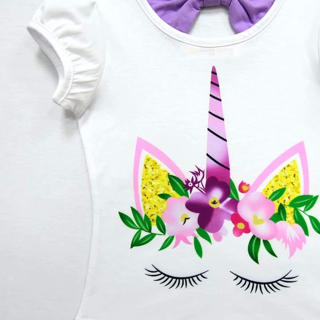 Tsyllyp Girls Unicorn Dress Tutu Layered Casual Skirt for Kids 2-8 Year Birthday
