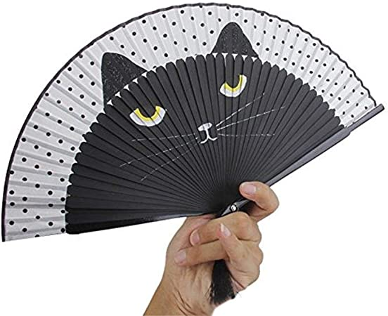 kingpo Ventilatore Pieghevole Silk Fan Cartoon Cartoon Dipinto a Mano da Donna Fan Cat Handle Fan