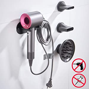Hair Dryer Holder, Self Adhesive Hair Dryer Wall Mount Holder for Dyson Supersonic Hair Dryer and Dyson Accessories