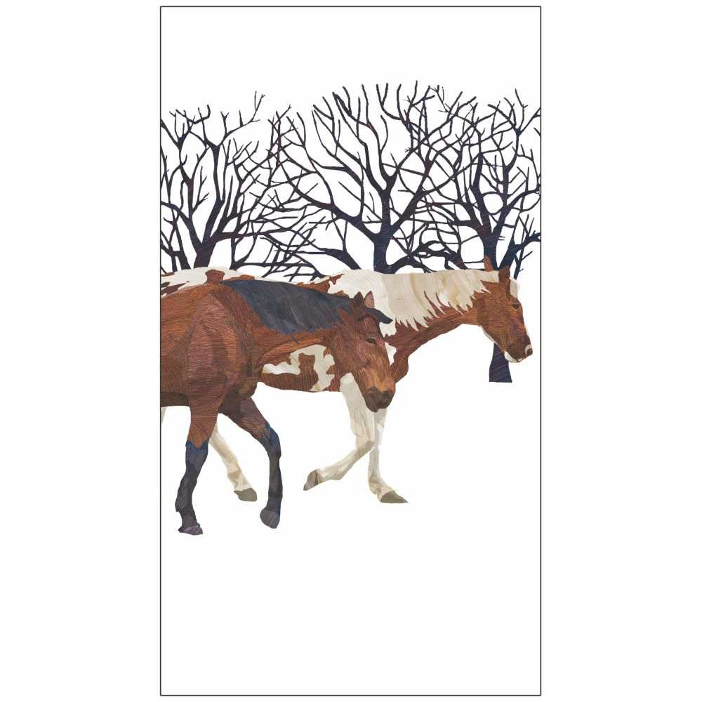 Paperproducts Design Luxury Guest/Hand Towels (Set of 15), 5'' x 7'', Multicolor, Winter Horses