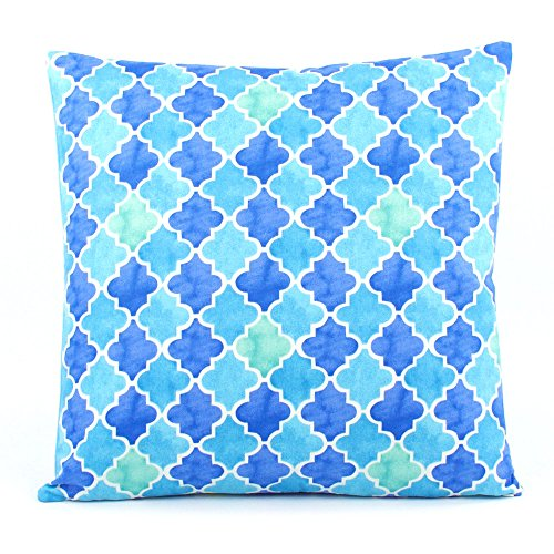 Chloe & Olive Tutti Frutti Blueberry Collection Lattice Morocan Floral and Stripes Reversible Pillow Cover, 18-Inch, Blue and Green