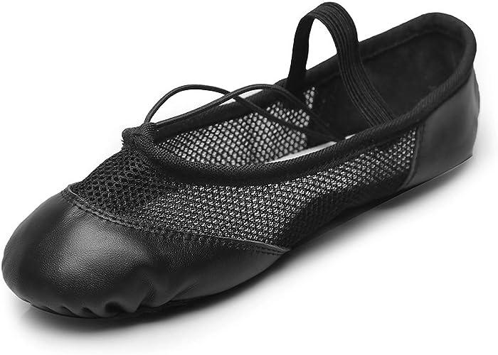 MSMAX Black Leather Full Sole Casual Slipper Ballet Flat,Little Kid,2.5M US