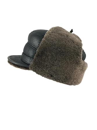 22ef13f8d73 Zavelio Men s Shearling Sheepskin Elmer Fudd Captain Visor Hat XX-Large  Brown