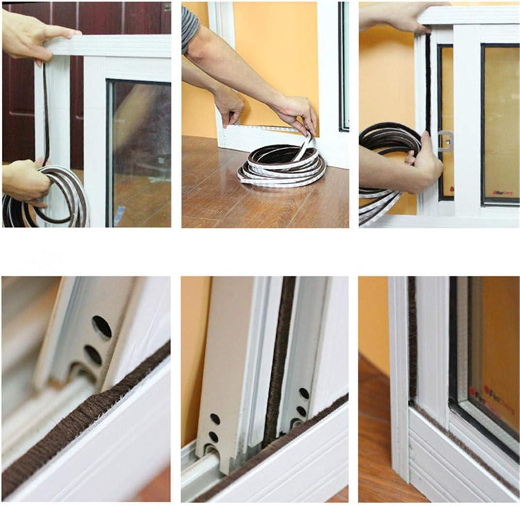 3Meters//5Meters Brush Strip Self Adhesive Door Window Sealing Strip Home Door Window Sound Insulation Wind-Proof Strip Gasket White 9mmX9mmX3M