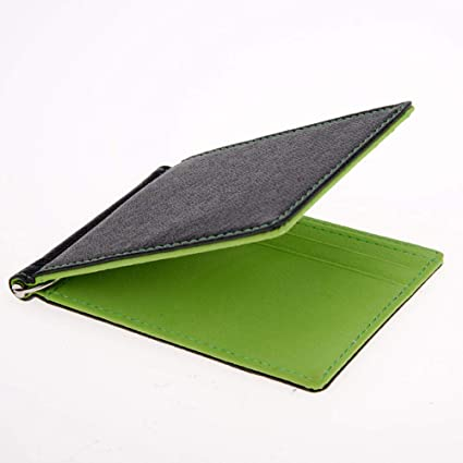 a42bf83484d7 Image Unavailable. Image not available for. Color: Mens Front Pocket  Leather Money Clip Slim Wallets Black ID Credit Card Holder (Green)