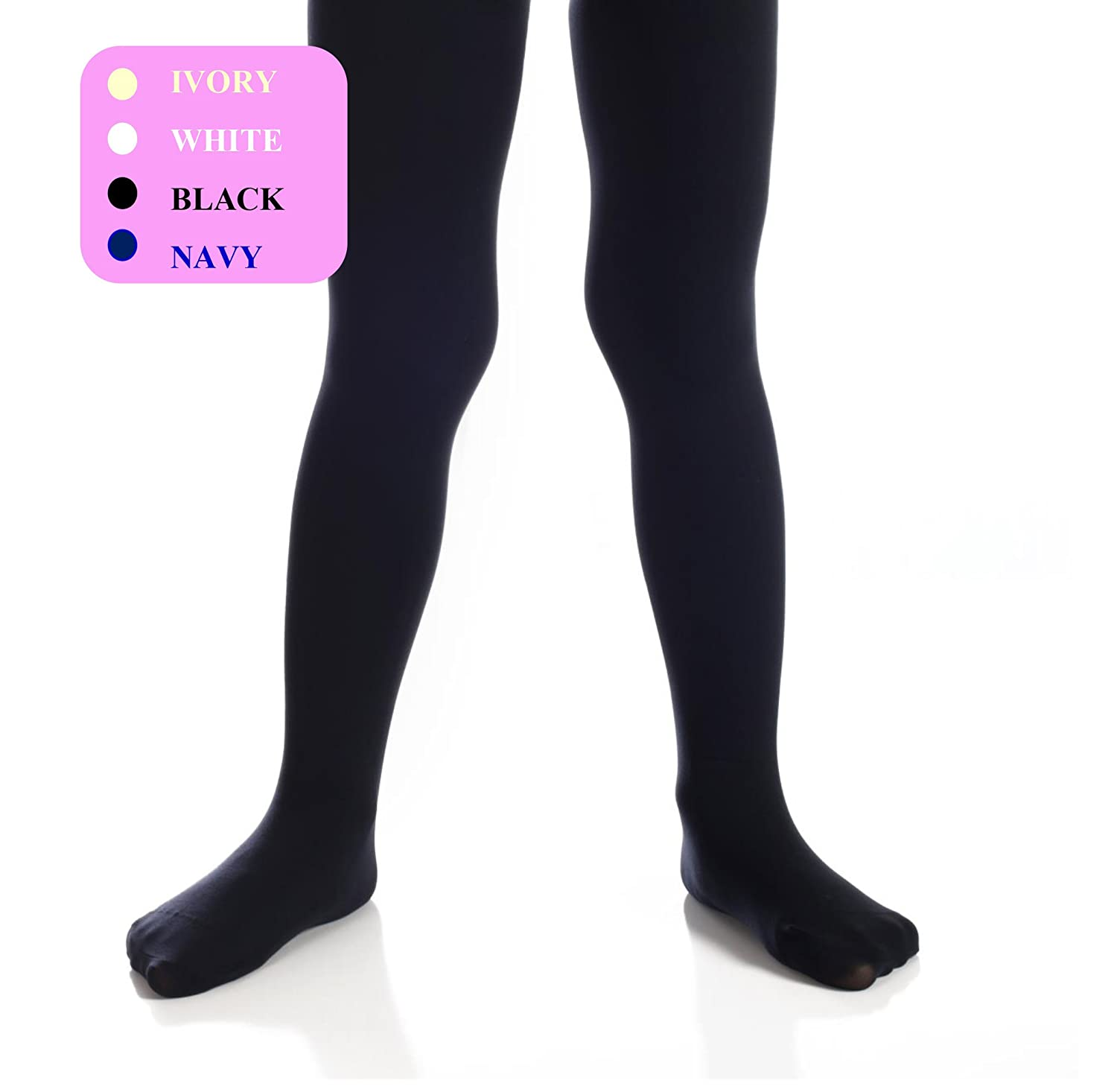 Top Fit Girls Tights - Kids Opaque, Microfiber Tights - Dance, School, Uniform - Black, White, Navy, and Ivory