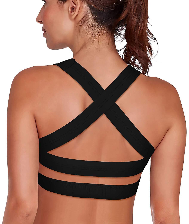 SHAPERX Women's Sports Bra Padded Breathable High Impact Support Criss Cross Back Yoga Gym Bras, Z143-Black-L