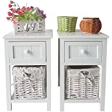 UEnjoy Pair of Shabby Chic White Bedside Units Nightstands with Wicker Storage