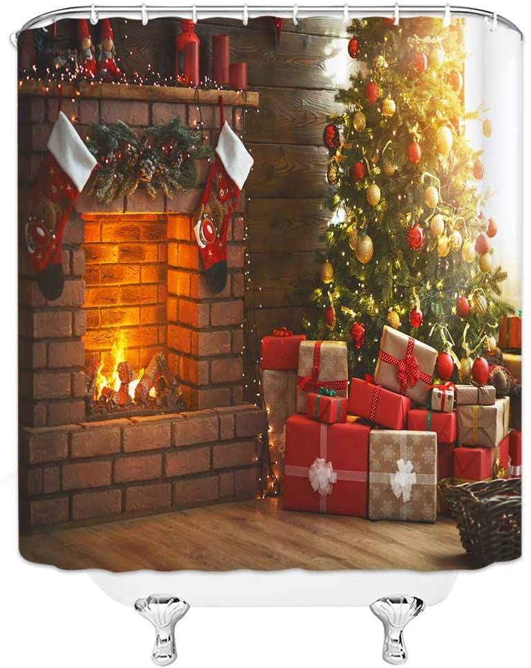 Amazon Com Bcnew Christmas Shower Curtain Decor Christmas Fireplace Christmas Tree Gift Christmas Stocking Bathroom Curtain Polyester Fabric Machine Washable With Hooks 70x70 Inches Kitchen Dining