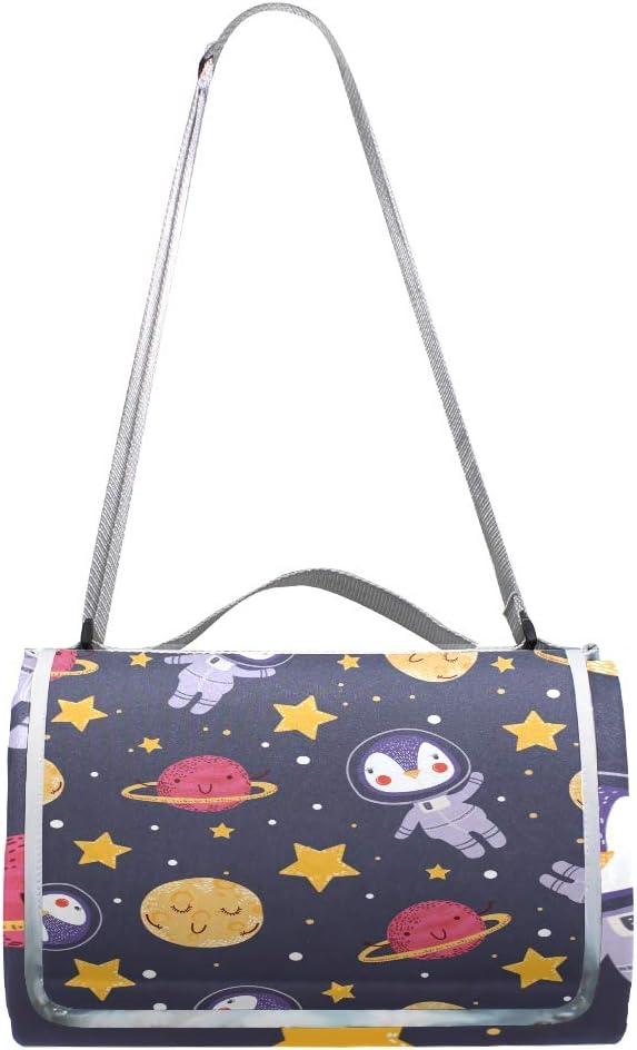 XINGAKA Coperta da Picnic Tappetino Campeggio,Galassia a Spirale Spaziale e Stampa di Pianeti,Giardino Spiaggia Impermeabile Anti Sabbia 6