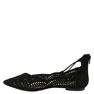 Qupid Strike 02X Women's Perforated Pointy Toe Lace Up Flats