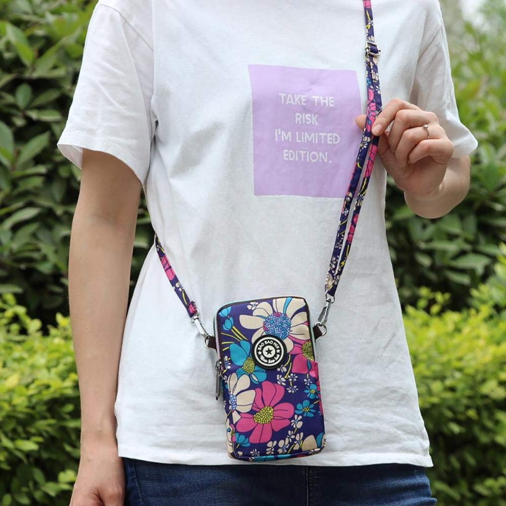 Libertry estilo coreano bolsa de tel/éfono m/óvil de impresi/ón de la mujer Mini Messenger Bag Cuello colgante Nylon Impermeable Deportes corriendo Brazo Mu/ñequera Monedero con cremallera de 2 capas