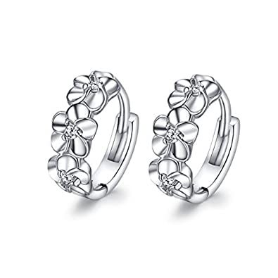 Meyiert 925 Sterling Silver Zirconia Beautiful Round Hoop Stud Earrings for Women (with Gift Box) xUn2yyqg