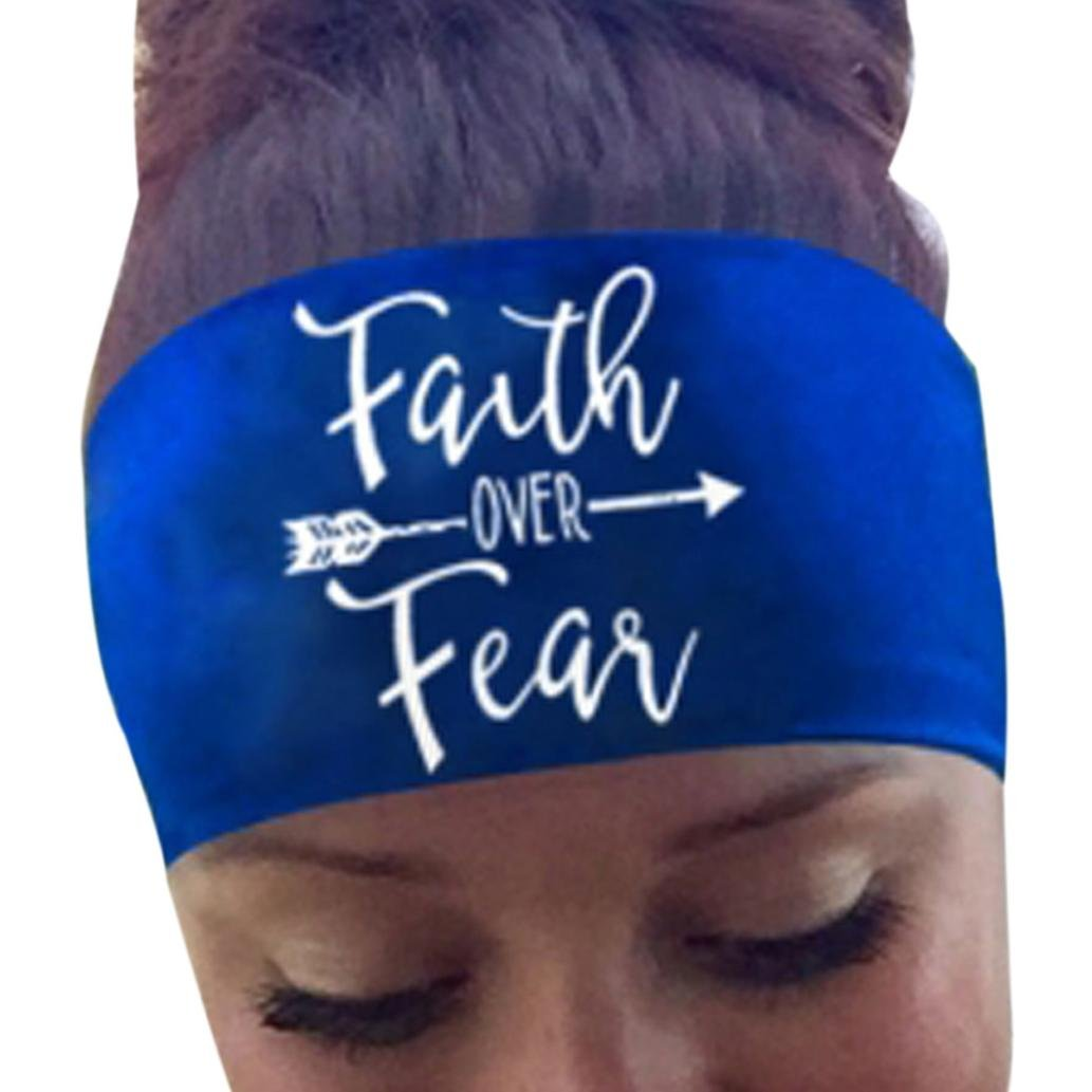FTXJ Yoga Headbands Harley hair Ladies Letter Sports Yoga Sweatband Gym Stretch Headband Hair Band (Blue B)