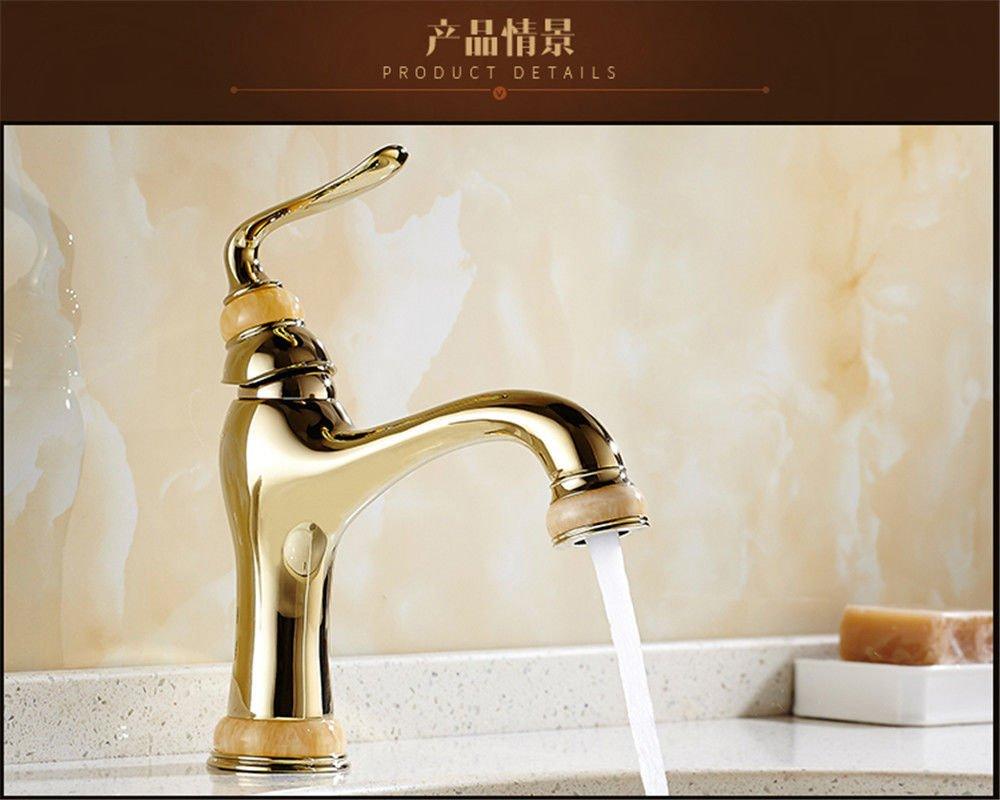 MMYNL TAPS MMYNL Waschtischarmatur Bad Mischbatterie Badarmatur Waschbecken Antike Kupfer heiße und kalte Golden Marmor Jade Badezimmer Waschtischmischer