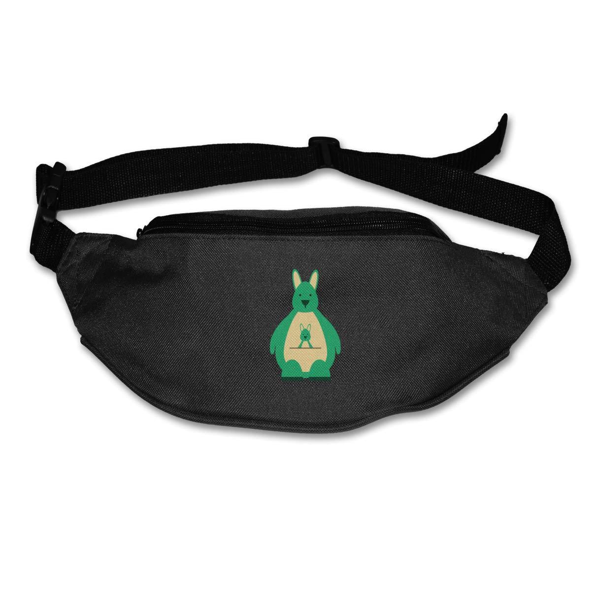 Green Cute Kangaroo Baby Sport Waist Bag Fanny Pack Adjustable For Run