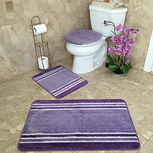 3-PIECE BATHROOM RUG SETS   Anti-Bacterial Rubber Back Non-Skid/Slip Purple & White STRIPED BATH RUG & MAT SET 21