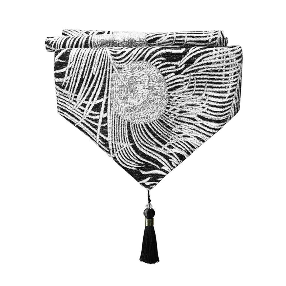 Jia Jia- テーブルフラグ現代のミニマリストテーブルフラグ中国風のヨーロッパ系アメリカ人のベッドフラグテーブルテーブルフラグ孔雀の羽ブラックホワイトテーブルフラグ布ホームファブリックの装飾 テーブルフラッグ (サイズ さいず : 32x220cm) 32x220cm  B07Q83GPV3