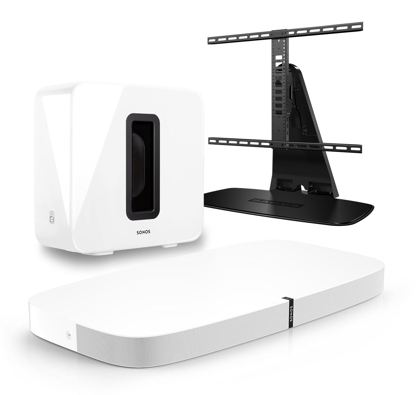 Sonos 3.1 Home Theater Digital Music System Bundle (PLAYBASE, SUB) White & Sanus WSTV1-B1 Swivel TV Base Mount for Sonos PLAYBASE by Sonos