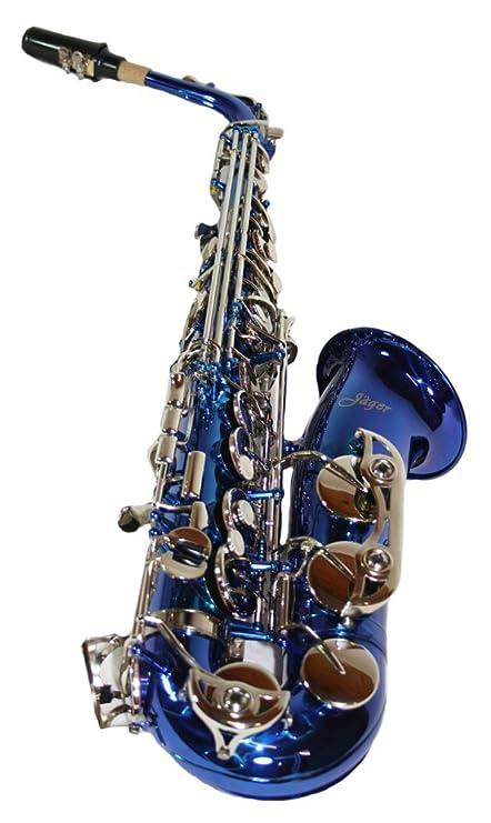 Jäger - Saxofón alto plata mib/fa estuche rígido, color azul ...